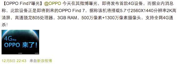 Официально подтверждённые характеристики планшетофона Oppo Find 7