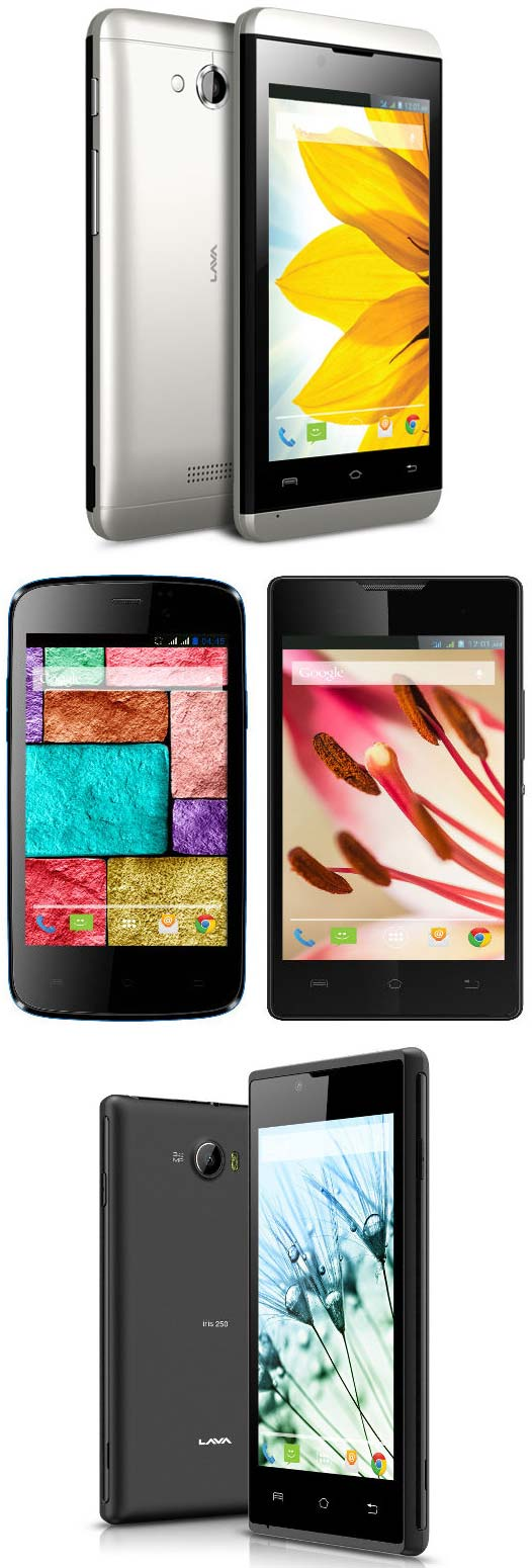 Смартфоны Lava Iris 400s, Iris 400 colors, Iris 250, Iris 404 Flair и Iris 410